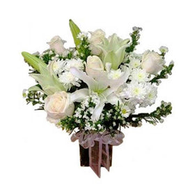 White Lily And Roses In Glass Vase