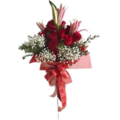 Beautiful Red And Pink Rose Hand-Tied