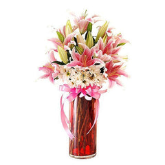 Pink Lilies With White Daisies In A Vase