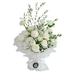 Winter Sonata  White Rose Chrysant Bouquet