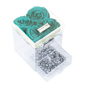 Tiffany Blue Enchanted Rose in Grande Acrylic Jewelry Box - 4 Roses