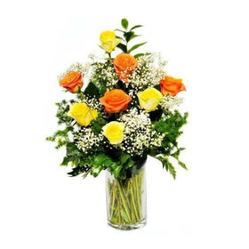 12 Orange And Yellow Roses In A Vase