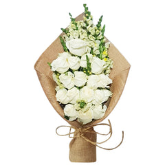 20 White Roses in Bouquet