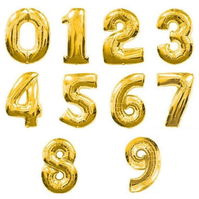 Gold Number Foil Balloon 0-9