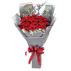 Midnight Hand Bouquet - Fiery Red