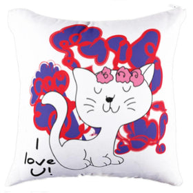 Calm Cat White Pillow