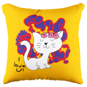 Calm Cat Yellow Pillow Case