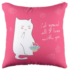 Miss Cat with 9 Lives Pillow Case