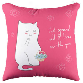 Miss Cat with 9 Lives Pillow