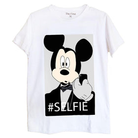 Mickey Selfie Couple T-Shirt - White