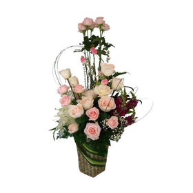 White And Soft Pink Roses, Casablanca Lily And Filler In Container