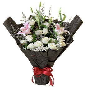White Rose and Pink Lilies Bouquet