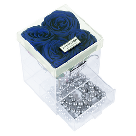 Royale Blue Enchanted Rose in Grande Acrylic Jewelry Box - 4 Roses