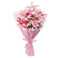 10 Pink Lilies in Bouquet