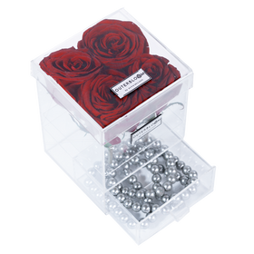 Ruby Red Enchanted Rose in Grande Acrylic Jewelry Box - 4 Roses