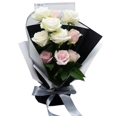 Simply Charming Rose Bouquet - White Pink