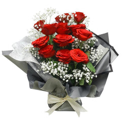 Standing Rose Eleganza Hand Bouquet - Fiery Red