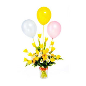 Assortment Of Yellow Rose And White Daisies With Balloons In A Vase