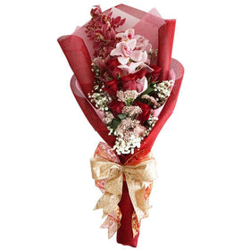 Heavenly Red And Pink Rose Hand Tied Bouquet