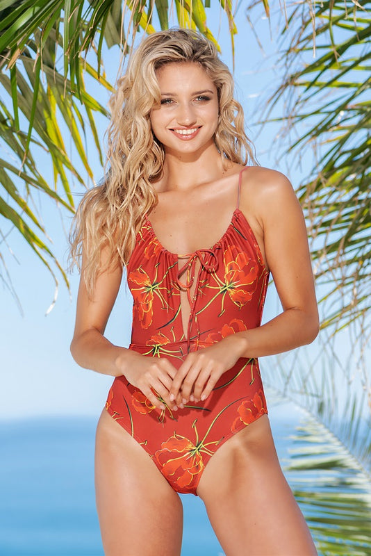 Red Flame Lily Ruched one-piece