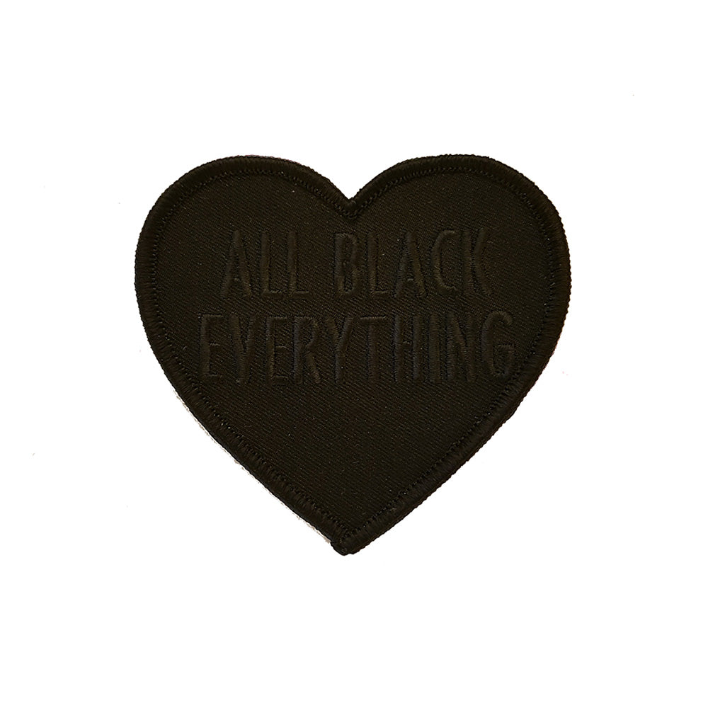 All Black Everything Heart Embroidered Patch (Black Text)