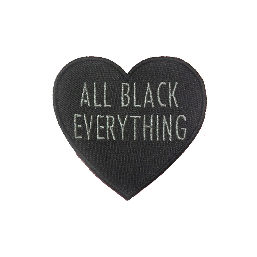 All Black Everything Heart Embroidered Patch [Grey Text]