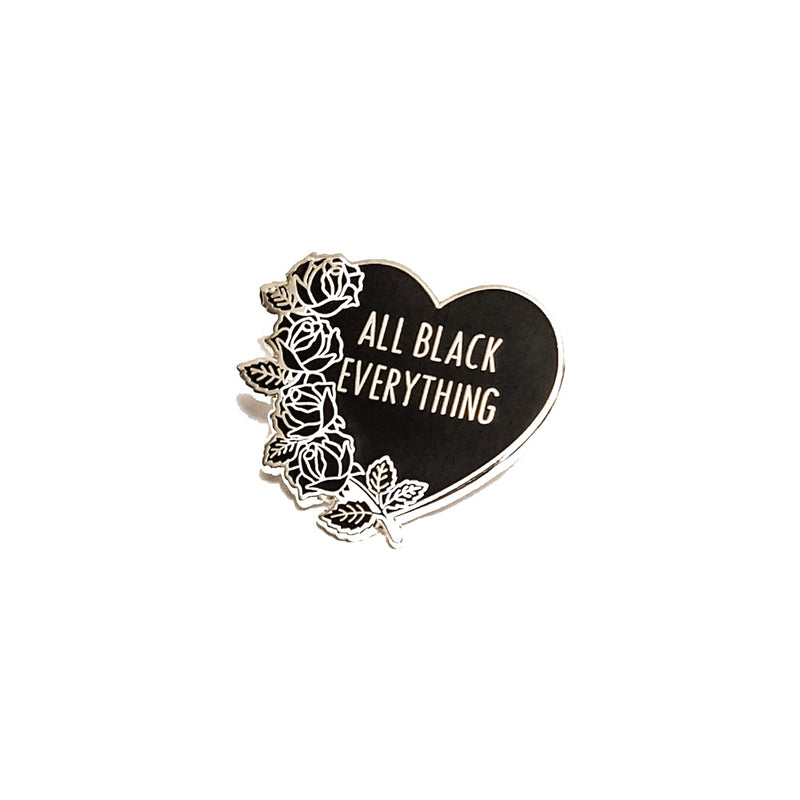 All Black Everything Spring Enamel Pin (Black Heart Collection #1)
