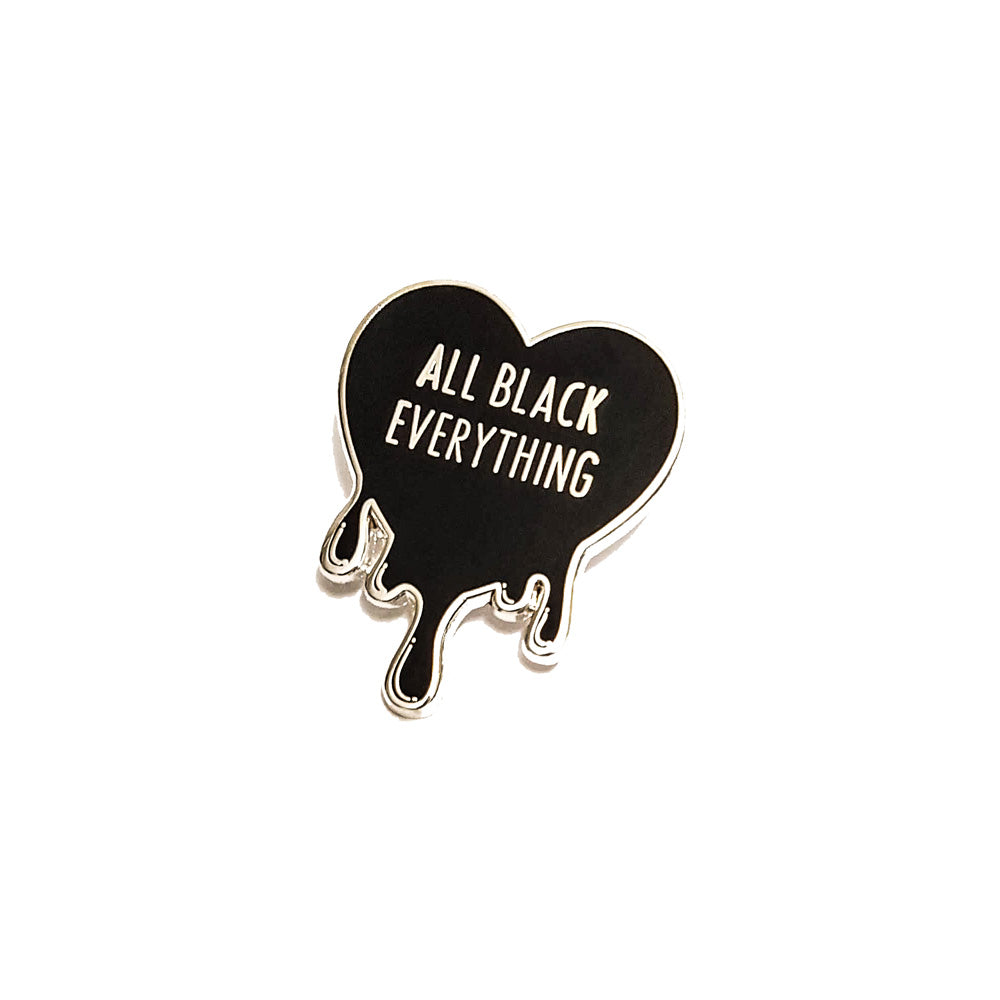 All Black Everything Summer Enamel Pin (Black Heart Collection #1)