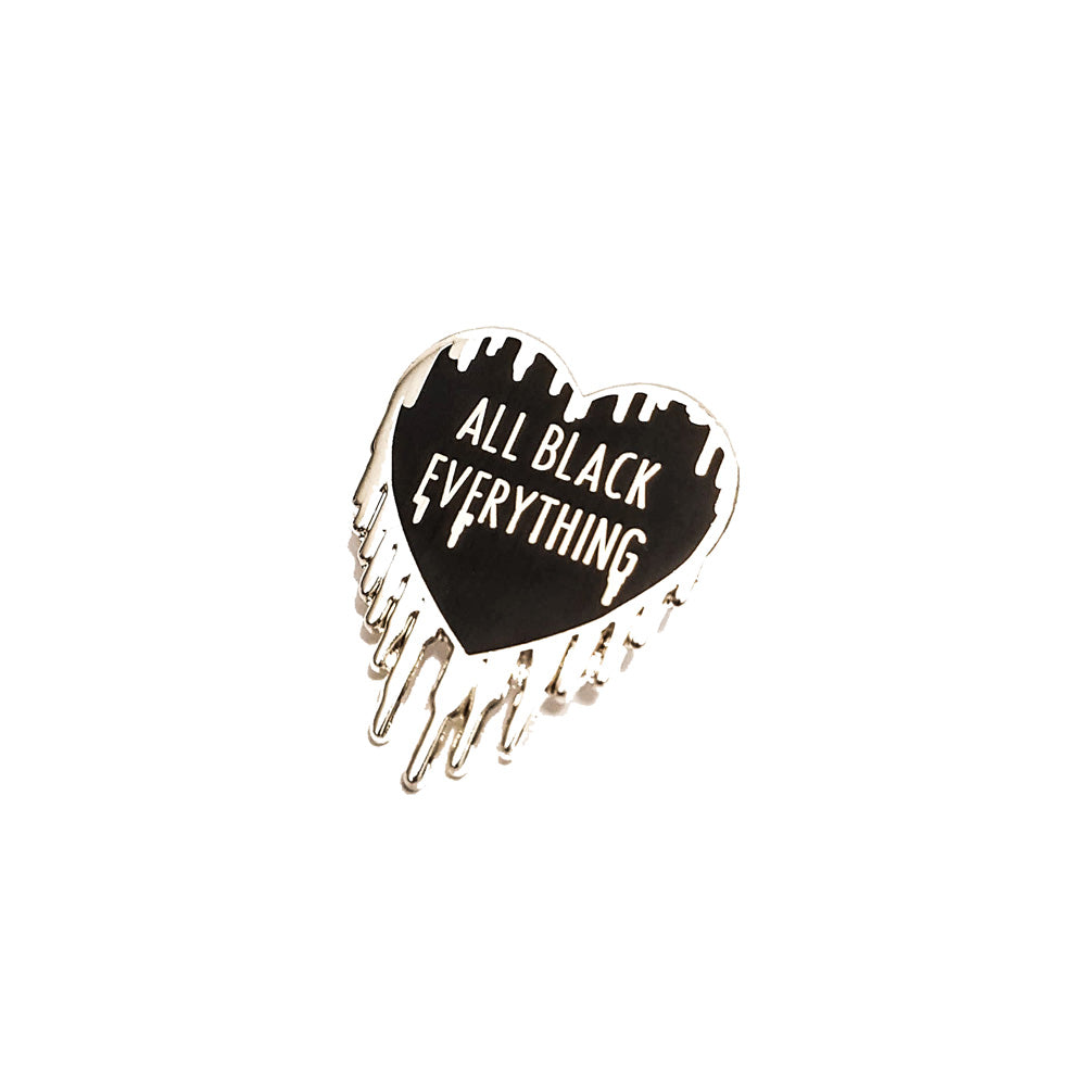 All Black Everything Winter Enamel Pin (Black Heart Collection #1)
