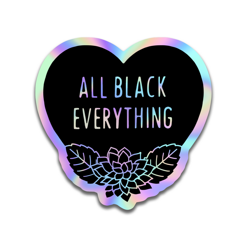 All Black Everything Autumn (Fall) Sticker [Holographic]