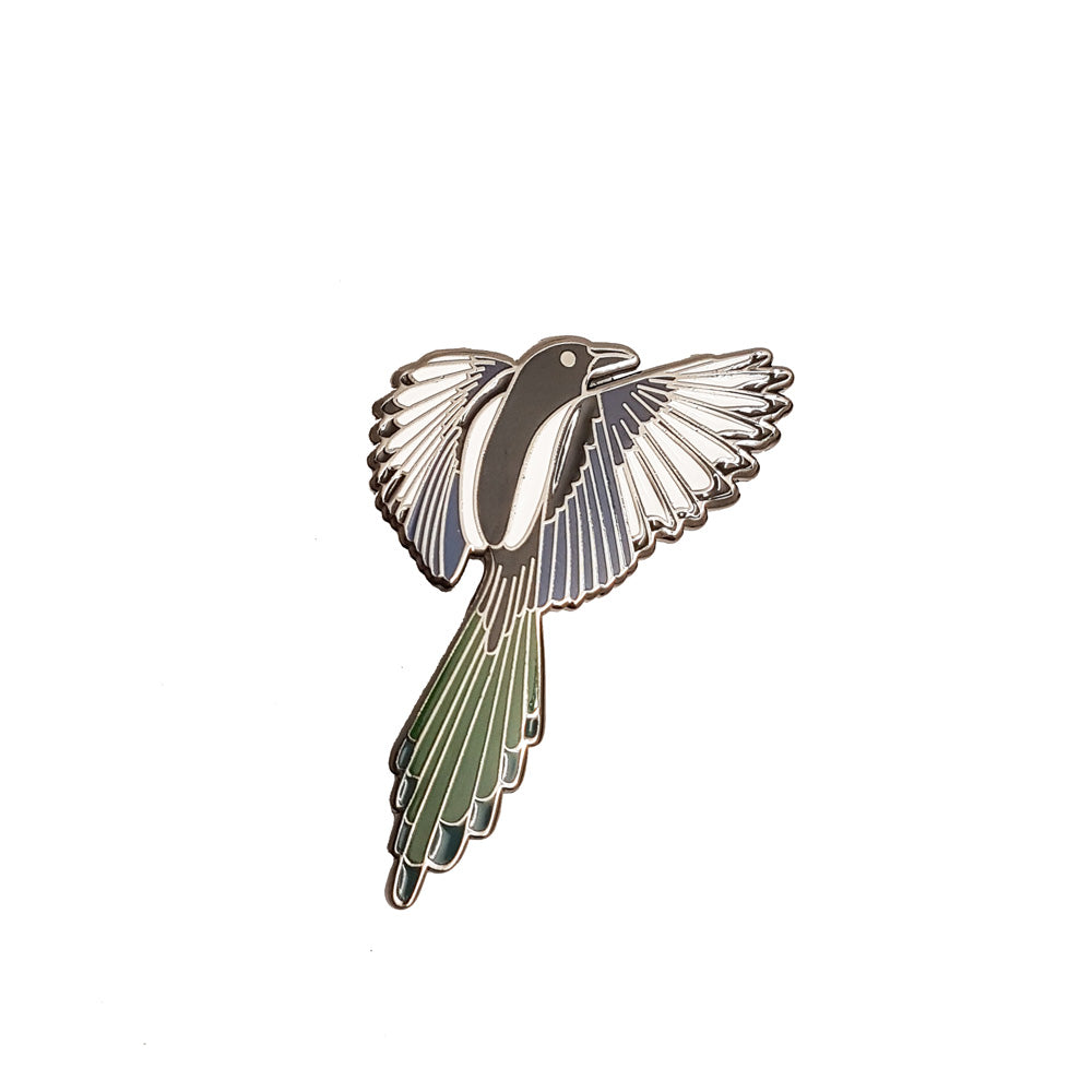 Magpie Enamel Pin (Chrome)