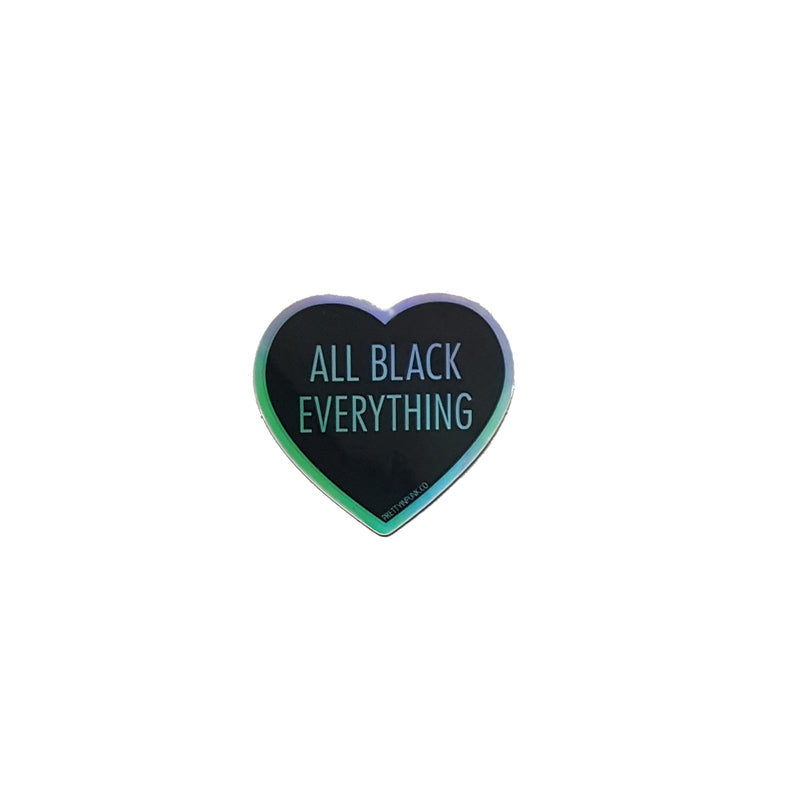 All Black Everything Heart Sticker [Holographic]