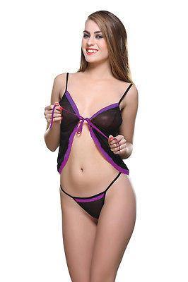 Bold Desire Babydoll Set Black-Purple #509 - GottaGo.in