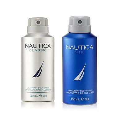 Nautica Classic and Blue Deodorant Body Sprays for Men (Set of 2 x 150 ml)