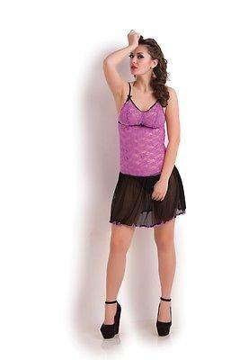 Bold Desire Babydoll Set Purple-Black #533A - GottaGo.in