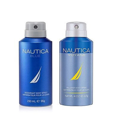 Nautica Blue and Voyage Deodorant Body Sprays for Men (Set of 2 x 150 ml)