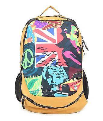 Rainco Multi-Print Golden Backpack / School Bag by President Bags - GottaGo.in