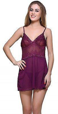 Bold Desire Babydoll Set Wine #515 - GottaGo.in