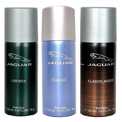 Jaguar Classic Blue, Green & Amber Deodorants for Men (Set of 3 x 150 ml)