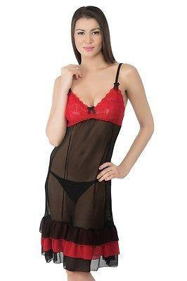 Bold Desire Babydoll Set Red-Black #526A - GottaGo.in