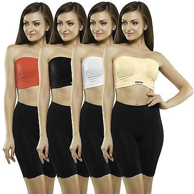 Tipsy Tube Bra Set of 4pcs. in Red - White - Black - Skin colours - GottaGo.in