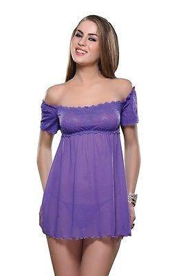 Bold Desire Babydoll Set Purple #516 - GottaGo.in