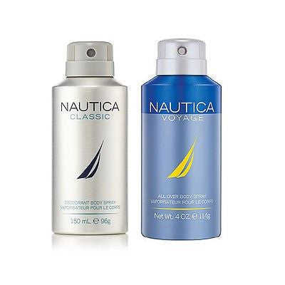 Nautica Classic and Voyage Deodorant Body Sprays for Men (Set of 2 x 150 ml)