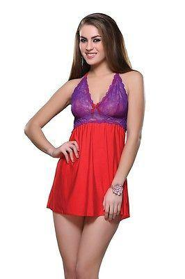 Bold Desire Babydoll Set Red-Purple #514 - GottaGo.in