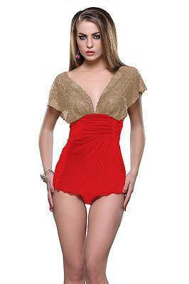 Bold Desire Babydoll Teddies Set Red-Golden #519 - GottaGo.in
