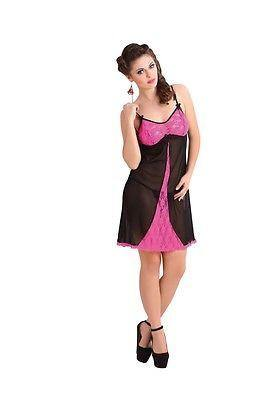 Bold Desire Babydoll Set Pink-Black #531A - GottaGo.in