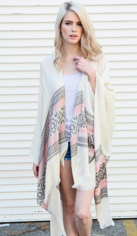 Pink & Ivory Woven Moroccan Frayed Edge Kimono - GottaGo.in