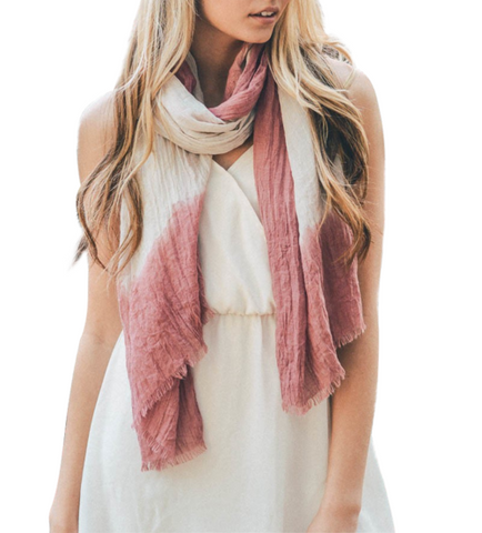 Pink & Ivory Boho Dip Dyed Long Scarf - GottaGo.in