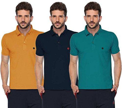 ONN Men's Cotton Polo T-Shirt (Pack of 3) in Solid Mustard-Navy Blue-Peacock Blue colours - GottaGo.in