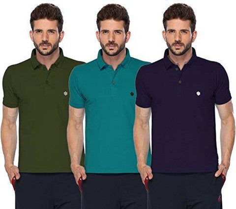 ONN Men's Cotton Polo T-Shirt (Pack of 3) in Solid Olive-Peacock Blue-Purple colours